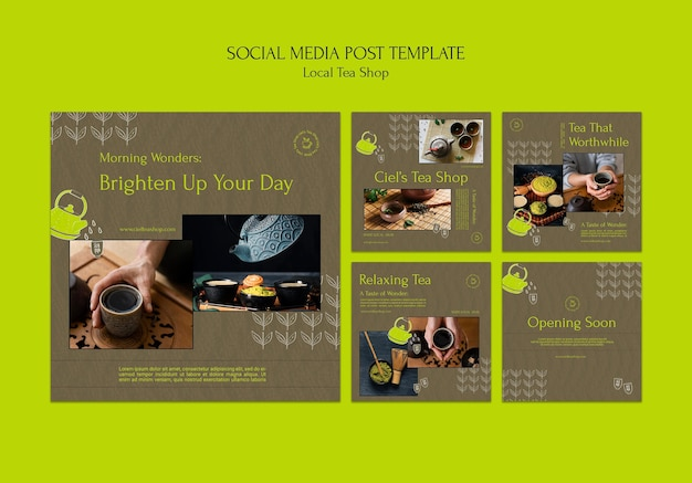 Modello di progettazione di post sui social media del negozio di tè locale