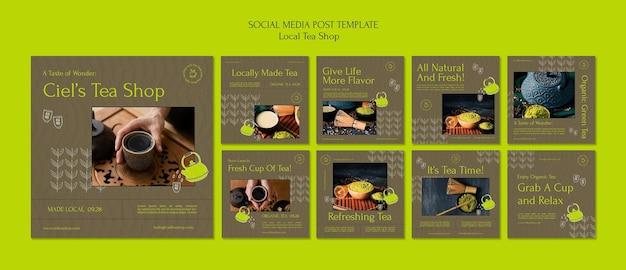 지역 찻집 소셜 미디어 포스트 디자인 템플릿
