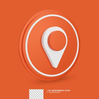 Расположение 3d оранжевый значок дизайн Premium Psd