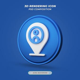 Значок местоположения и подставки в 3d-рендеринге Premium Psd