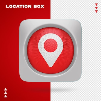 Location box in 3d renderin isolated