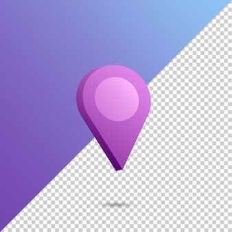 Location icon in 3d rendering isolated