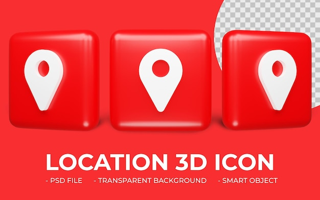 Location or map locator icon 3d rendering isolated