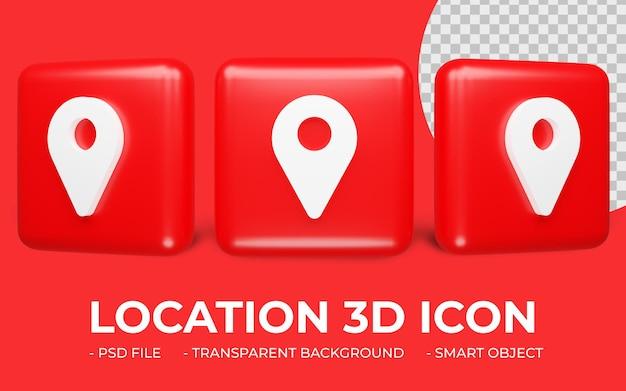 Местоположение или карта локатора значок 3d-рендеринга изолированные