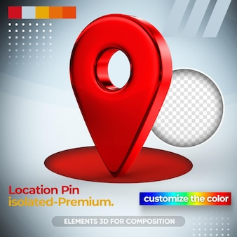 Location pin for map in 3d rendering