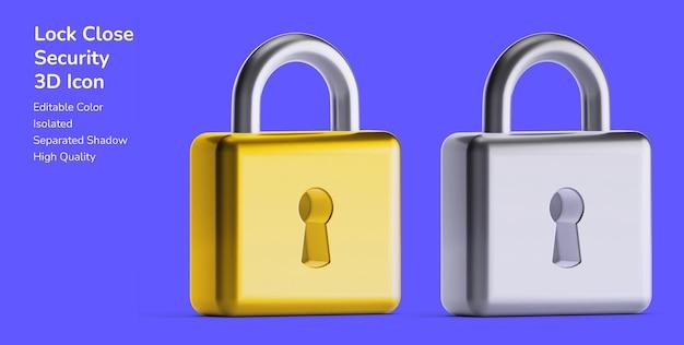 3d 자산 디자인 아이콘에서 개인 정보 보호 모형 잠금