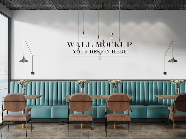 로프트 디자인 카페 또는 레스토랑 벽 배경
