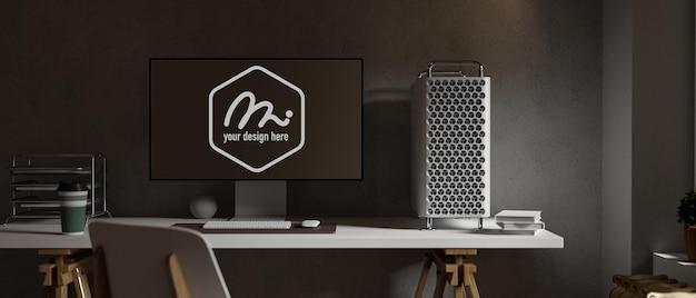 コンピュータデバイスのモックアップとロフトオフィスルームのインテリアデザイン