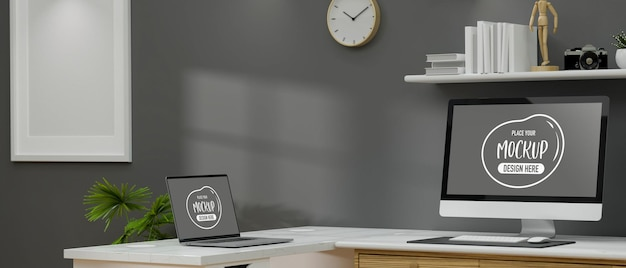 コンピュータラップトップ用品と装飾3dレンダリングを備えたロフトオフィスルームのインテリアデザイン
