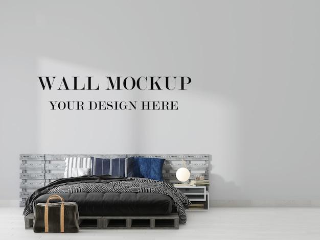 Макет пустой стены спальни в стиле лофт в 3d-рендеринге
