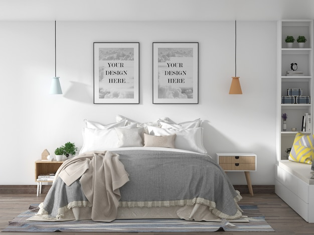 Loft style bedroom frame mockup on a white wall with king-size bed