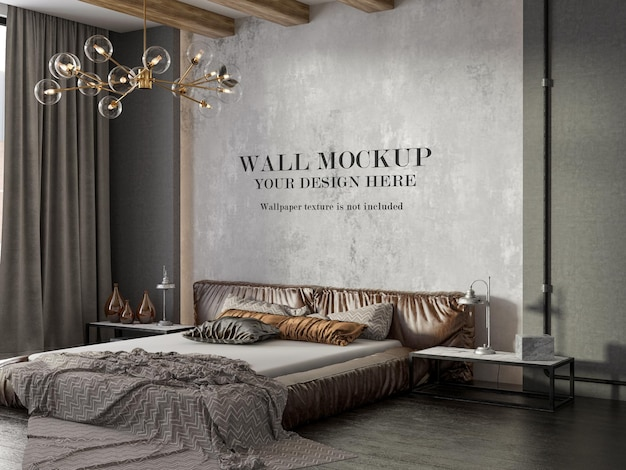 Loft style bedroom wall mockup