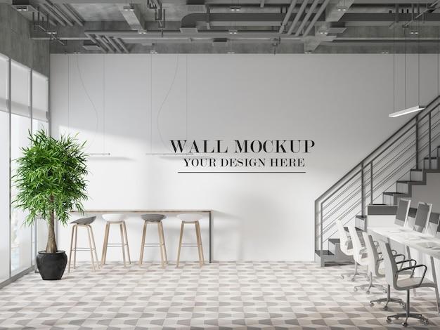 ロフトスタイルのコワーキングオフィスのモックアップ壁