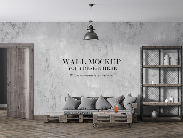 Loft style room wall mockup design