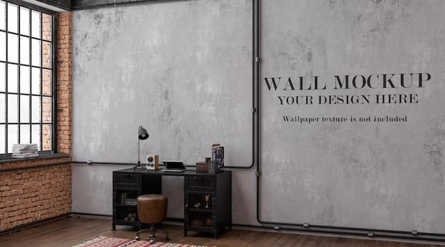 あなたのデザインのアイデアのためのロフトスタイルの書斎のモックアップ壁
