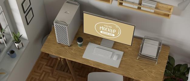 데스크탑 컴퓨터가 있는 로프트 작업 공간, 책상 위의 편지지 및 복사 공간, 3d 렌더링, 3d 일러스트레이션
