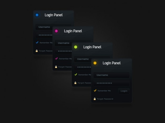 Login form and panels psd