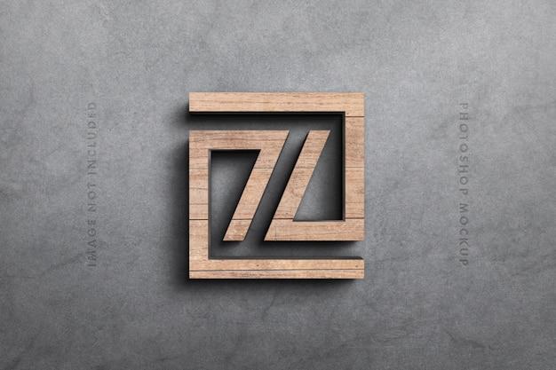 Logo 3d mockup in wood