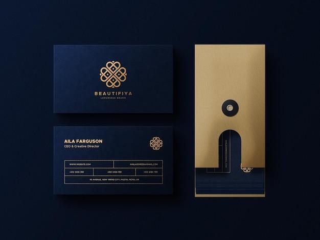 Мокап логотипа и визитной карточки с ящиком для хранения бумаги