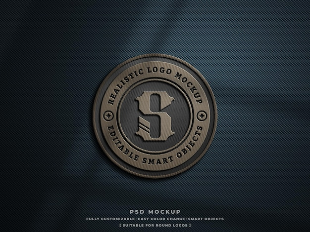 Logo badge or patch mockup on rough hard carbon fibre fabric engraved