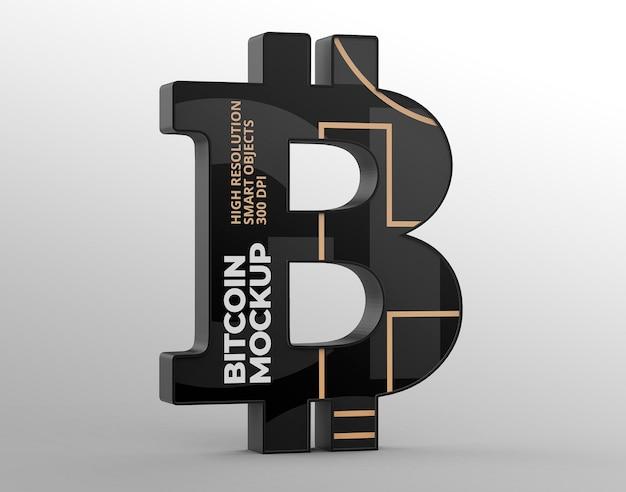 Логотип bitcoin mockup для брендинга и рекламных презентаций