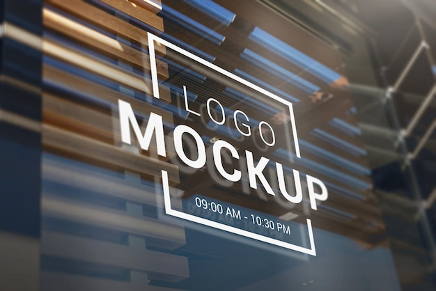 Logo branding window mockup presentation