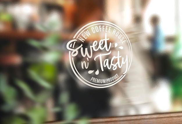 Logo su un mockup di vetrina di vetro aziendale