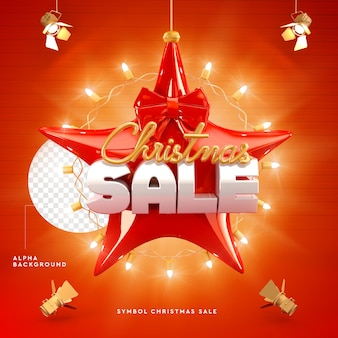 Logo christmas sale 3d in star shape, red and gold