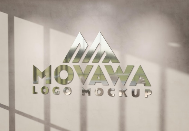 Logo on concrete wall with 3d metal effect mockup