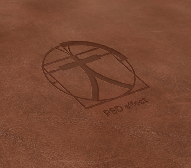 Logo effect on leather mockup