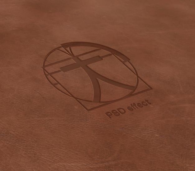 Эффект логотипа на кожаном мокапе