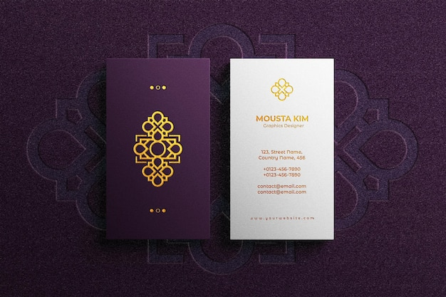 Logo embossed on luxury business card mockup
