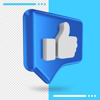 Logo of facebook like in 3d rendering