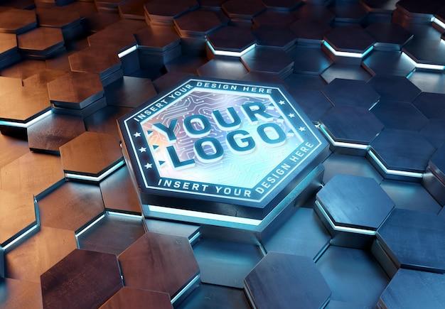 Logo on futuristic hexagon pedestal