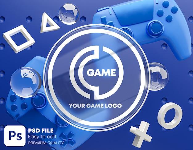 게임 패드 용 로고 글래스 블루 목업