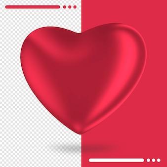 Logo of heart button in 3d rendering