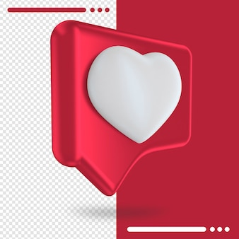 Logo of heart button in 3d rendering