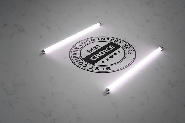 蛍光灯のモックアップテンプレートに照らしてロゴ