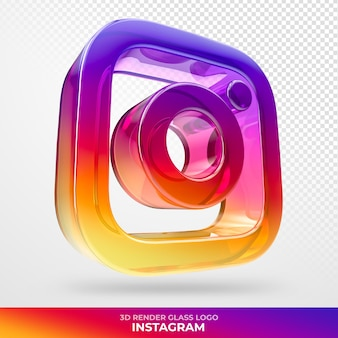 Logo instagram glass acrylic with transparent 3d render
