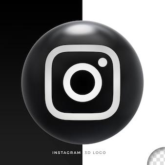 Логотип instagram на эллипсе 3d дизайн