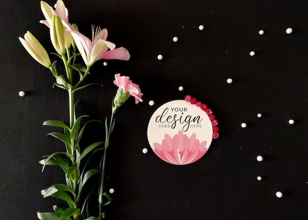 Logo label mockup with flowers