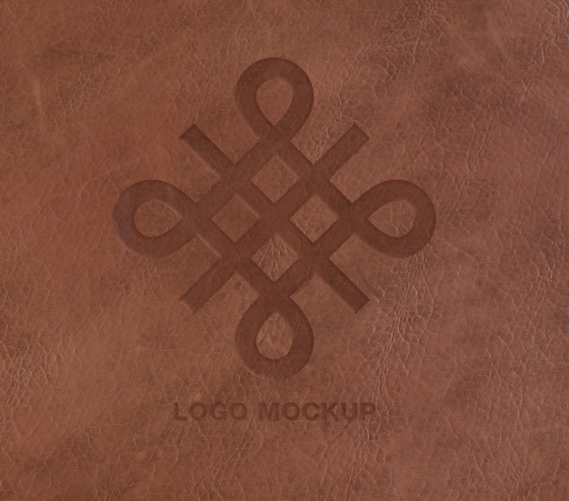 Logo on leather mockup