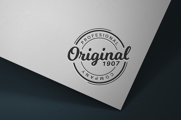 Logo in the light of fluorescent lamps   mockup template