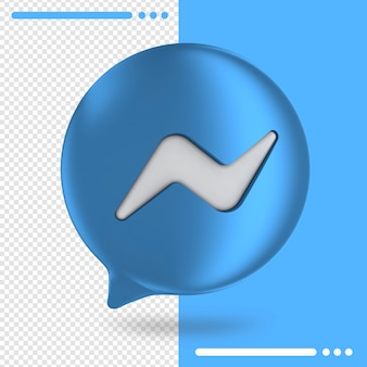 Logo of messenger button in 3d rendering