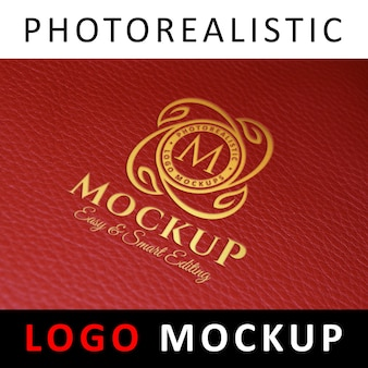 ロゴモックアップ - レッドレザーのフォイルスタンピングロゴ