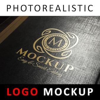 ロゴモックアップ - ゴールドホイルスタンピングロゴブラックブックカバー