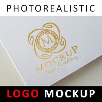 ロゴモックアップ - ゴールドフォイルスタンピングロゴホワイトブックカバー