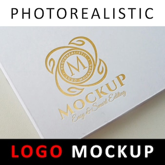 Logo mock up - gold foil stamping logo on white book cover