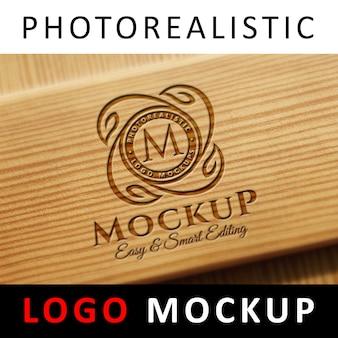ロゴモックアップ - 木製のレーザー刻印ロゴ Premium Psd