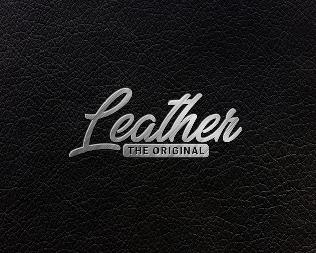 Logo mock up on leather